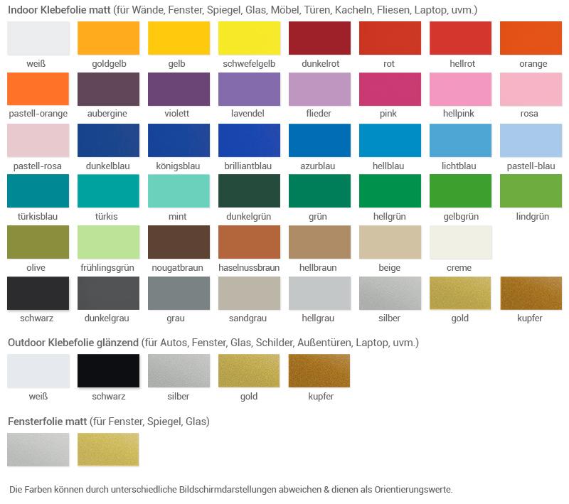 farben wandtattoo farbfaecher